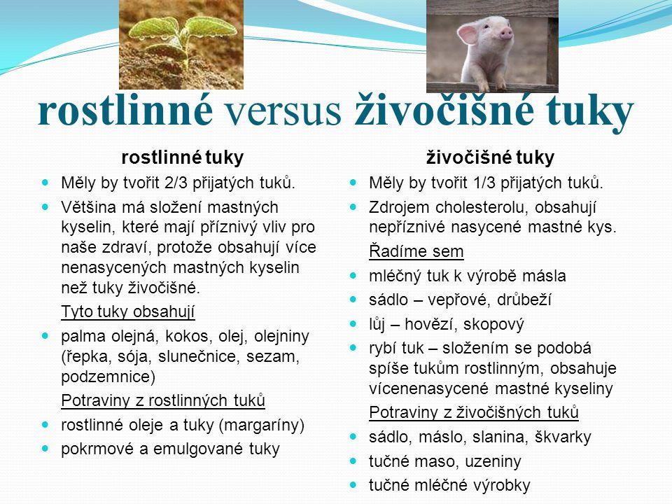 rostlinné versus živočišné tuky rostlinné tuky Měly by tvořit 2/3 přijatých tuků. Většina má složení mastných kyselin, které mají příznivý vliv pro na