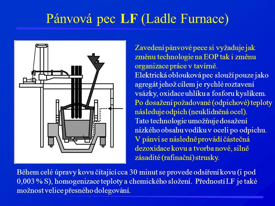 Pánvová pec LF (Ladle Furnace) Zavedení pánvové pece si vyžaduje jak změnu technologie na EOP tak i změnu organizace práce v tavírně. Elektrická oblou