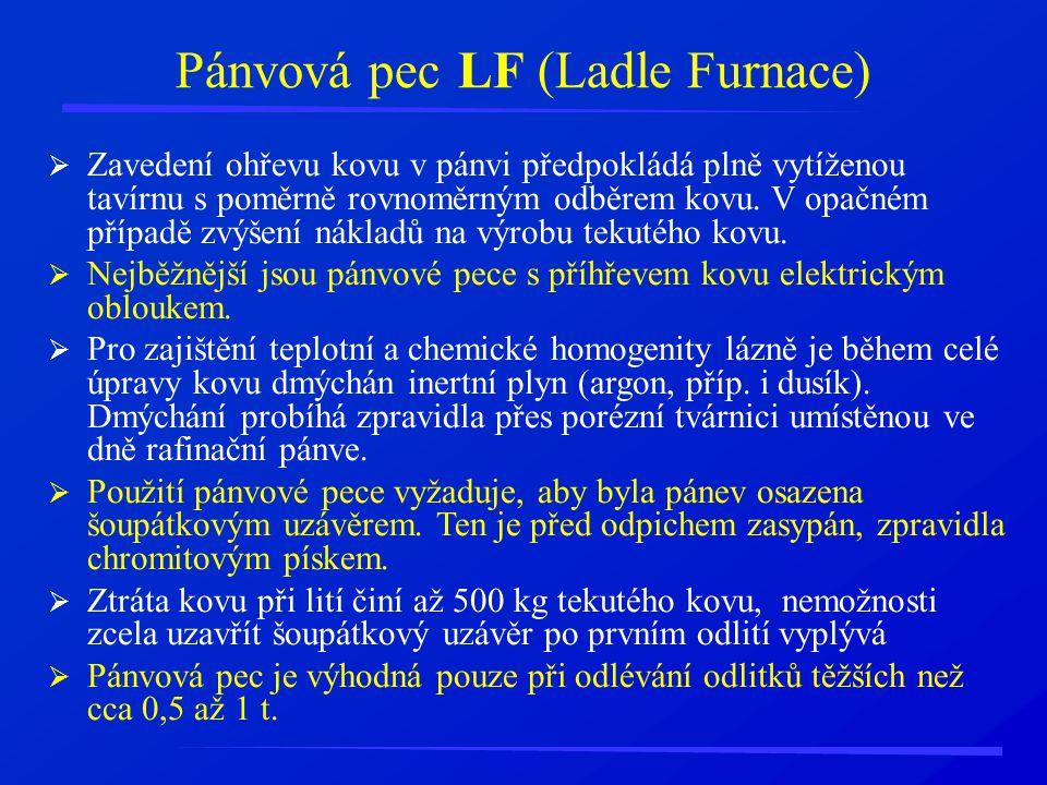 Pánvová pec LF (Ladle Furnace)  Zavedení ohřevu kovu v pánvi předpokládá plně vytíženou tavírnu s poměrně rovnoměrným odběrem kovu. V opačném případě