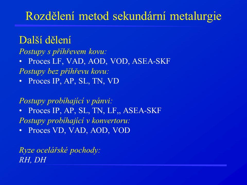 Rozdělení metod sekundární metalurgie Další dělení Postupy s příhřevem kovu: Proces LF, VAD, AOD, VOD, ASEA-SKF Postupy bez příhřevu kovu: Proces IP, AP, SL, TN, VD Postupy probíhající v pánvi: Proces IP, AP, SL, TN, LF,, ASEA-SKF Postupy probíhající v konvertoru: Proces VD, VAD, AOD, VOD Ryze ocelářské pochody: RH, DH
