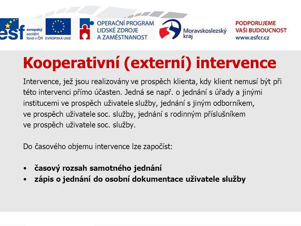 Kooperativní (externí) intervence Intervence, jež jsou realizovány ve prospěch klienta, kdy klient nemusí být při této intervenci přímo účasten.