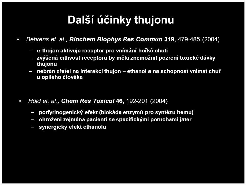 Další účinky thujonu Behrens et. al., Biochem Biophys Res Commun 319, 479-485 (2004) –  -thujon aktivuje receptor pro vnímání hořké chuti –zvýšená ci