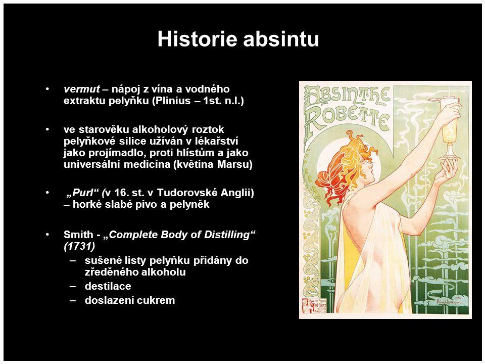 Historie absintu vermut – nápoj z vína a vodného extraktu pelyňku (Plinius – 1st. n.l.) ve starověku alkoholový roztok pelyňkové silice užíván v lékař
