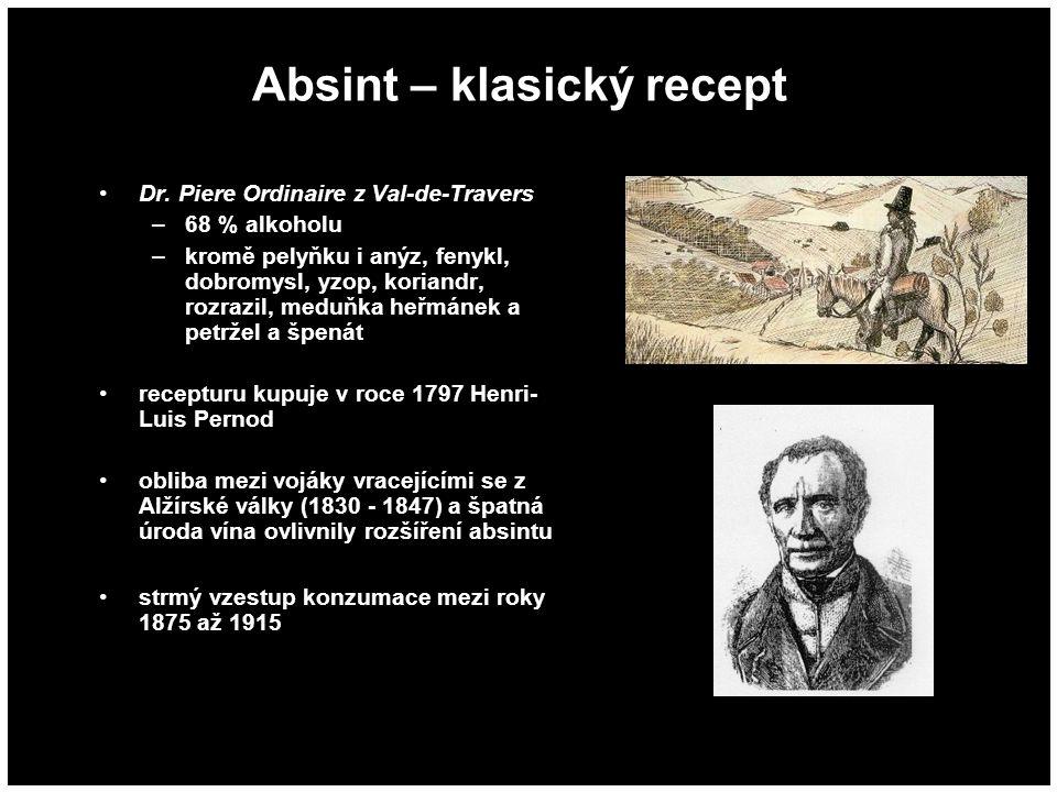 Absint – klasický recept Dr. Piere Ordinaire z Val-de-Travers –68 % alkoholu –kromě pelyňku i anýz, fenykl, dobromysl, yzop, koriandr, rozrazil, meduň
