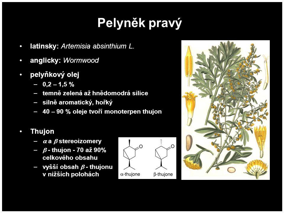 Pelyněk pravý latinsky: Artemisia absinthium L. anglicky: Wormwood pelyňkový olej –0,2 – 1,5 % –temně zelená až hnědomodrá silice –silně aromatický, h