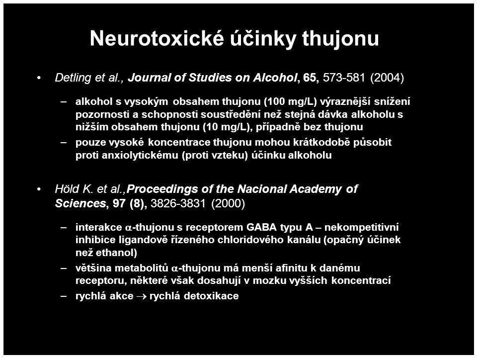 Neurotoxické účinky thujonu Detling et al., Journal of Studies on Alcohol, 65, 573-581 (2004) –alkohol s vysokým obsahem thujonu (100 mg/L) výraznější snížení pozornosti a schopnosti soustředění než stejná dávka alkoholu s nižším obsahem thujonu (10 mg/L), případně bez thujonu –pouze vysoké koncentrace thujonu mohou krátkodobě působit proti anxiolytickému (proti vzteku) účinku alkoholu Höld K.