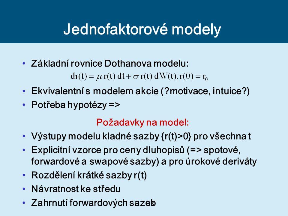 16 Jednofaktorové modely Základní rovnice Dothanova modelu: Ekvivalentní s modelem akcie (?motivace, intuice?) Potřeba hypotézy => Požadavky na model: Výstupy modelu kladné sazby {r(t)>0} pro všechna t Explicitní vzorce pro ceny dluhopisů (=> spotové, forwardové a swapové sazby) a pro úrokové deriváty Rozdělení krátké sazby r(t) Návratnost ke středu Zahrnutí forwardových sazeb
