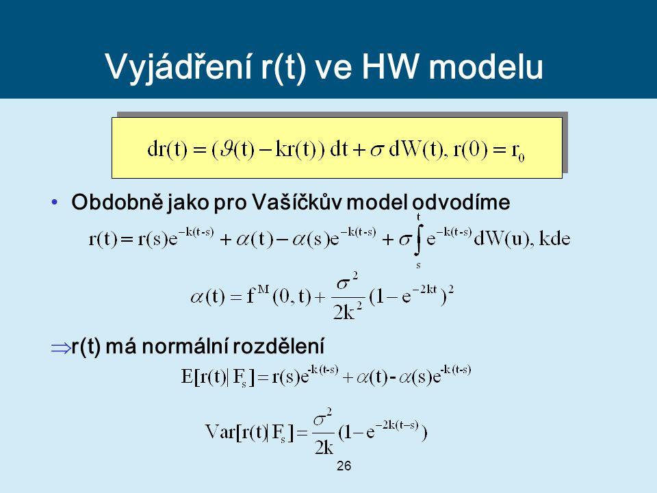 26 Vyjádření r(t) ve HW modelu Obdobně jako pro Vašíčkův model odvodíme  r(t) má normální rozdělení