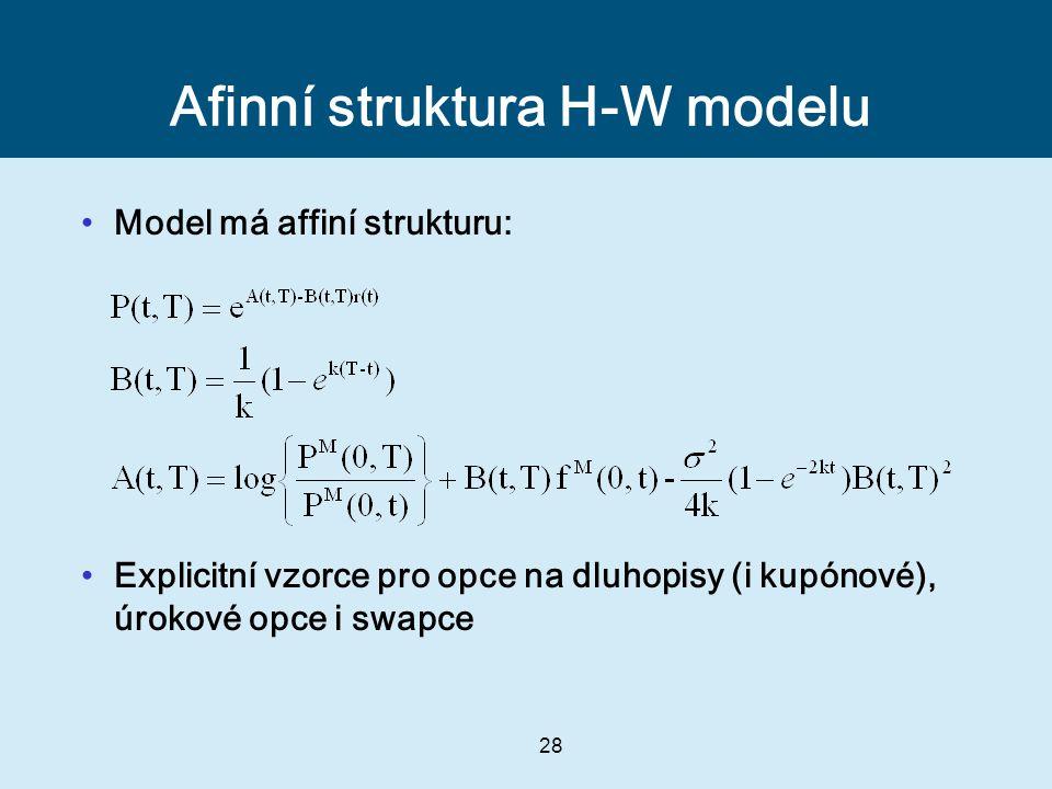 28 Afinní struktura H-W modelu Model má affiní strukturu: Explicitní vzorce pro opce na dluhopisy (i kupónové), úrokové opce i swapce