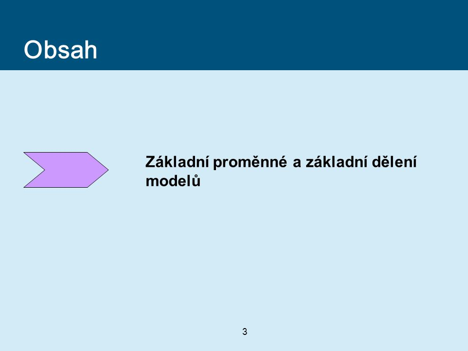 3 Obsah Základní proměnné a základní dělení modelů