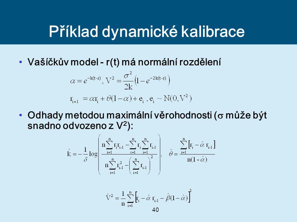 40 Příklad dynamické kalibrace Vašíčkův model - r(t) má normální rozdělení Odhady metodou maximální věrohodnosti (  může být snadno odvozeno z V 2 ):