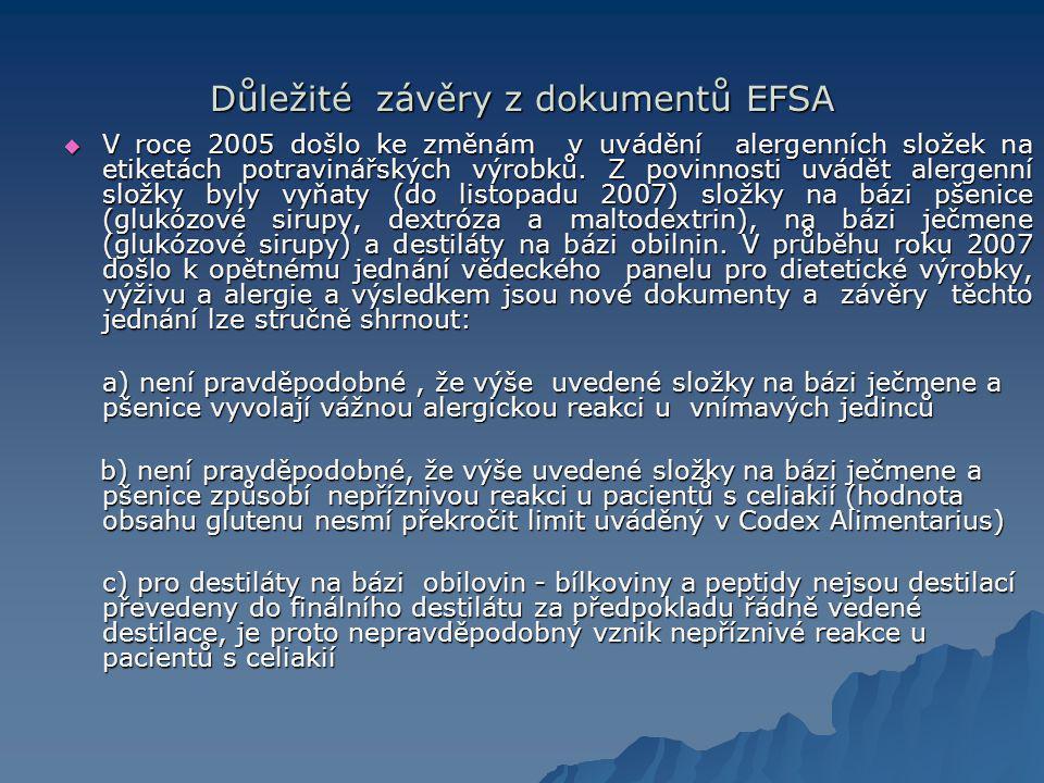 Důležité závěry z dokumentů EFSA  V roce 2005 došlo ke změnám v uvádění alergenních složek na etiketách potravinářských výrobků.