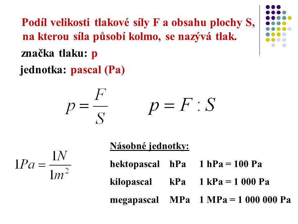 Podíl velikosti tlakové síly F a obsahu plochy S, na kterou síla působí kolmo, se nazývá tlak. značka tlaku: p jednotka: pascal (Pa) Násobné jednotky: