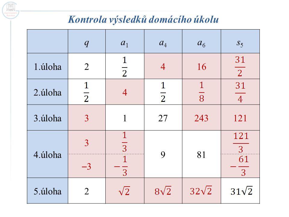 Kontrola výsledků domácího úkolu qa1a1 a4a4 a6a6 s5s5 1.úloha2416 2.úloha4 3.úloha3127243121 4.úloha 3 981 –3–3 5.úloha2