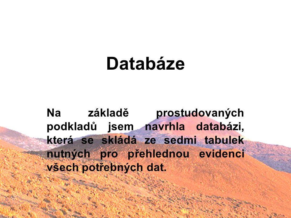 Databáze Na základě prostudovaných podkladů jsem navrhla databázi, která se skládá ze sedmi tabulek nutných pro přehlednou evidenci všech potřebných d