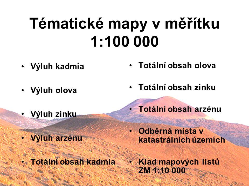 Tématické mapy v měřítku 1:100 000 Výluh kadmia Výluh olova Výluh zinku Výluh arzénu Totální obsah kadmia Totální obsah olova Totální obsah zinku Totá