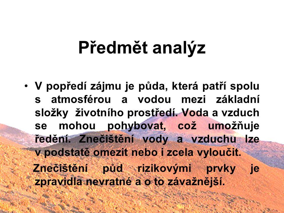 Předmět analýz V popředí zájmu je půda, která patří spolu s atmosférou a vodou mezi základní složky životního prostředí. Voda a vzduch se mohou pohybo