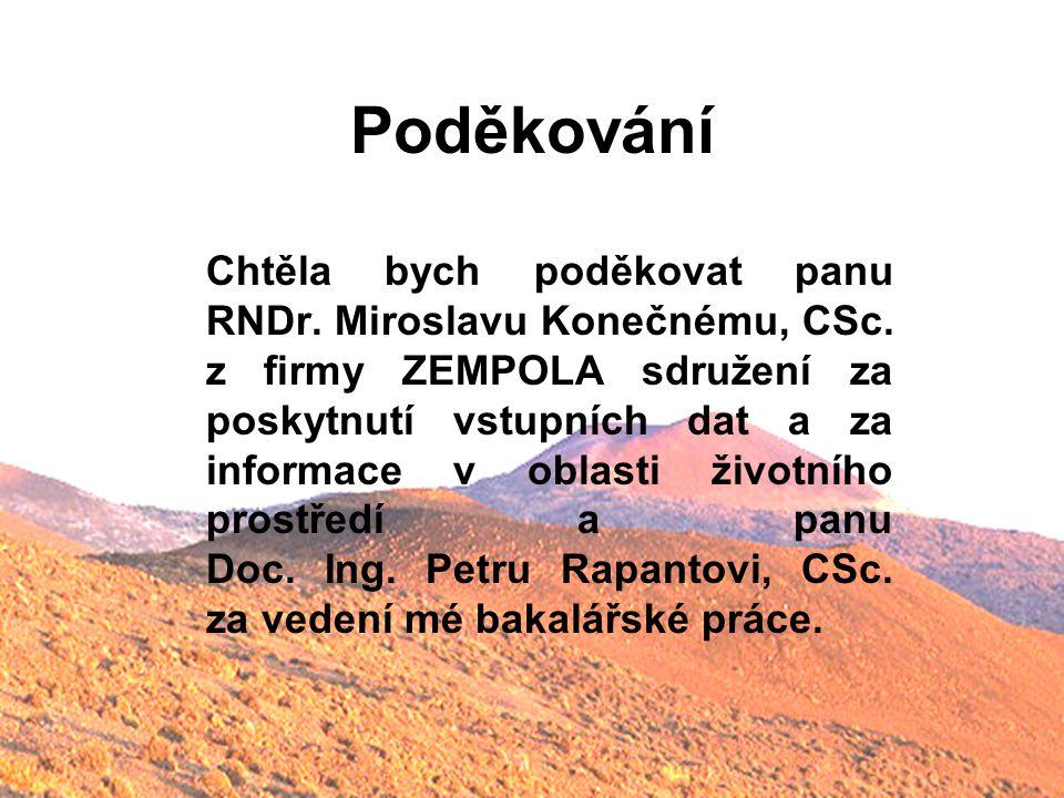 Poděkování Chtěla bych poděkovat panu RNDr. Miroslavu Konečnému, CSc. z firmy ZEMPOLA sdružení za poskytnutí vstupních dat a za informace v oblasti ži