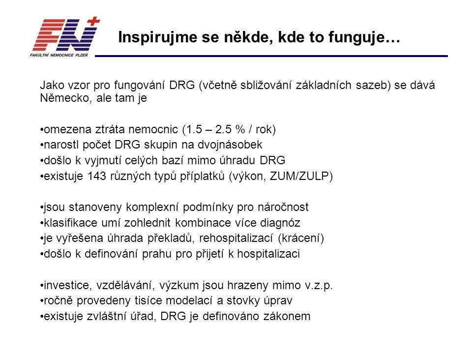 Jako vzor pro fungování DRG (včetně sbližování základních sazeb) se dává Německo, ale tam je omezena ztráta nemocnic (1.5 – 2.5 % / rok) narostl počet DRG skupin na dvojnásobek došlo k vyjmutí celých bazí mimo úhradu DRG existuje 143 různých typů příplatků (výkon, ZUM/ZULP) jsou stanoveny komplexní podmínky pro náročnost klasifikace umí zohlednit kombinace více diagnóz je vyřešena úhrada překladů, rehospitalizací (krácení) došlo k definování prahu pro přijetí k hospitalizaci investice, vzdělávání, výzkum jsou hrazeny mimo v.z.p.
