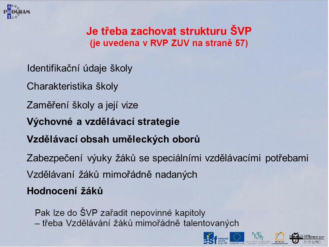 Je třeba zachovat strukturu ŠVP (je uvedena v RVP ZUV na straně 57) Identifikační údaje školy Charakteristika školy Zaměření školy a její vize Výchovn