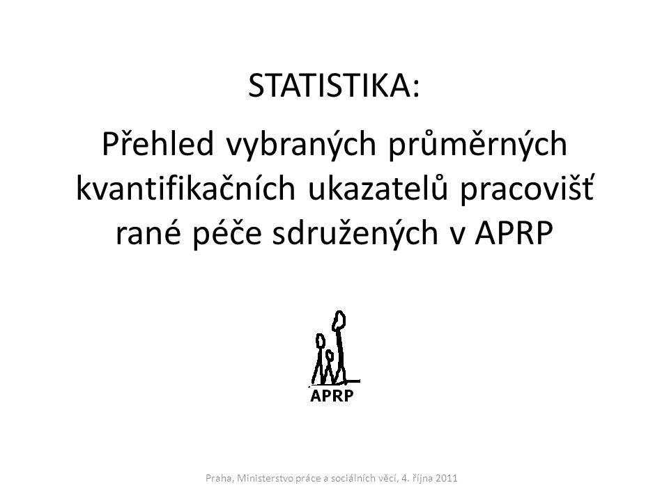 STATISTIKA: Přehled vybraných průměrných kvantifikačních ukazatelů pracovišť rané péče sdružených v APRP Praha, Ministerstvo práce a sociálních věcí,