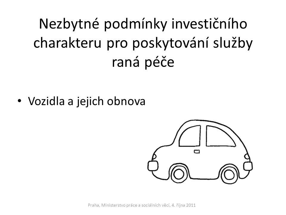 Nezbytné podmínky investičního charakteru pro poskytování služby raná péče Vozidla a jejich obnova Praha, Ministerstvo práce a sociálních věcí, 4. říj