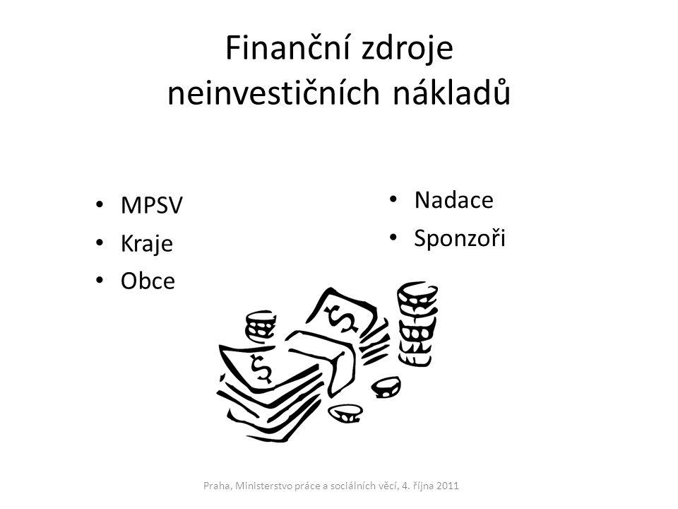 Finanční zdroje neinvestičních nákladů MPSV Kraje Obce Nadace Sponzoři Praha, Ministerstvo práce a sociálních věcí, 4. října 2011