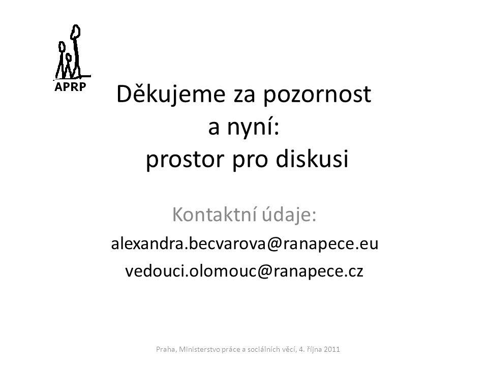 Děkujeme za pozornost a nyní: prostor pro diskusi Kontaktní údaje: alexandra.becvarova@ranapece.eu vedouci.olomouc@ranapece.cz Praha, Ministerstvo prá