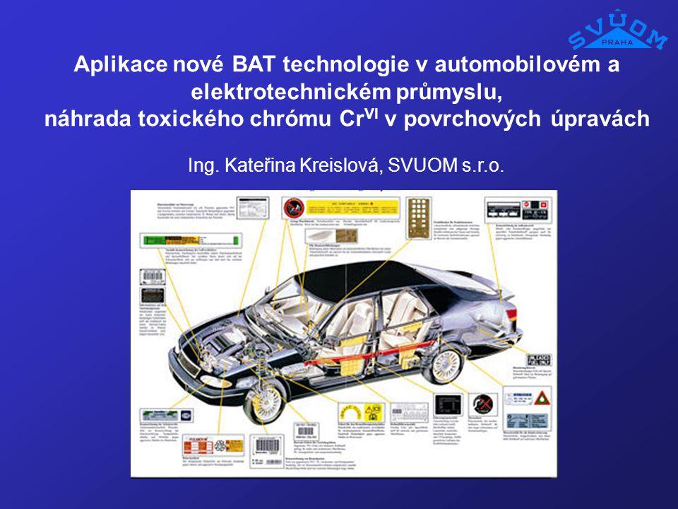 Aplikace nové BAT technologie v automobilovém a elektrotechnickém průmyslu, náhrada toxického chrómu Cr VI v povrchových úpravách Ing. Kateřina Kreisl