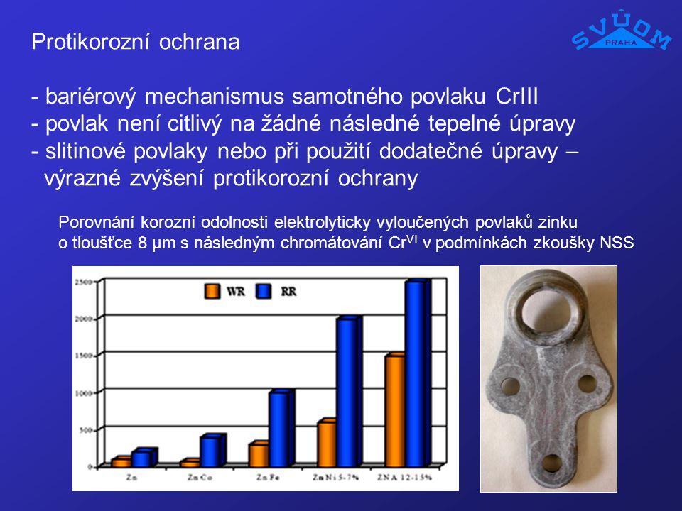 Protikorozní ochrana - bariérový mechanismus samotného povlaku CrIII - povlak není citlivý na žádné následné tepelné úpravy - slitinové povlaky nebo p