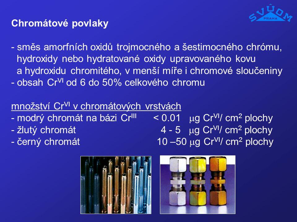 Chromátové povlaky - směs amorfních oxidů trojmocného a šestimocného chrómu, hydroxidy nebo hydratované oxidy upravovaného kovu a hydroxidu chromitého
