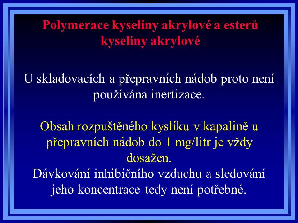 Polymerace kyseliny akrylové a esterů kyseliny akrylové U skladovacích a přepravních nádob proto není používána inertizace.