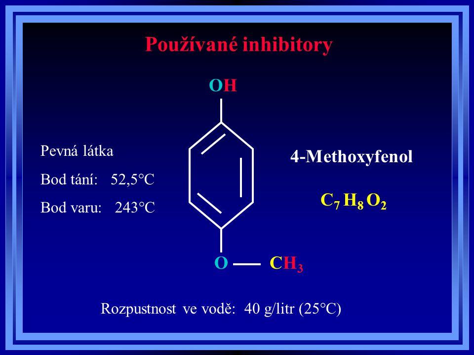 Používané inhibitory O OHOH CH3CH3 4-Methoxyfenol C 7 H 8 O 2 Pevná látka Bod tání: 52,5°C Bod varu: 243°C Rozpustnost ve vodě: 40 g/litr (25°C)