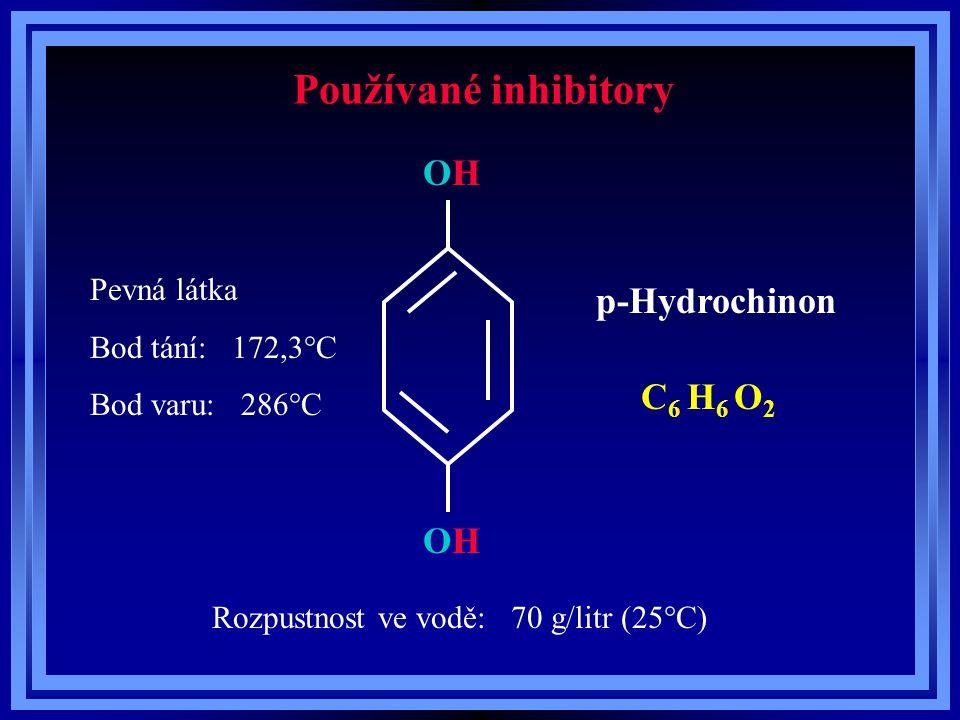 Používané inhibitory p-Hydrochinon C 6 H 6 O 2 OHOH OHOH Pevná látka Bod tání: 172,3°C Bod varu: 286°C Rozpustnost ve vodě: 70 g/litr (25°C)