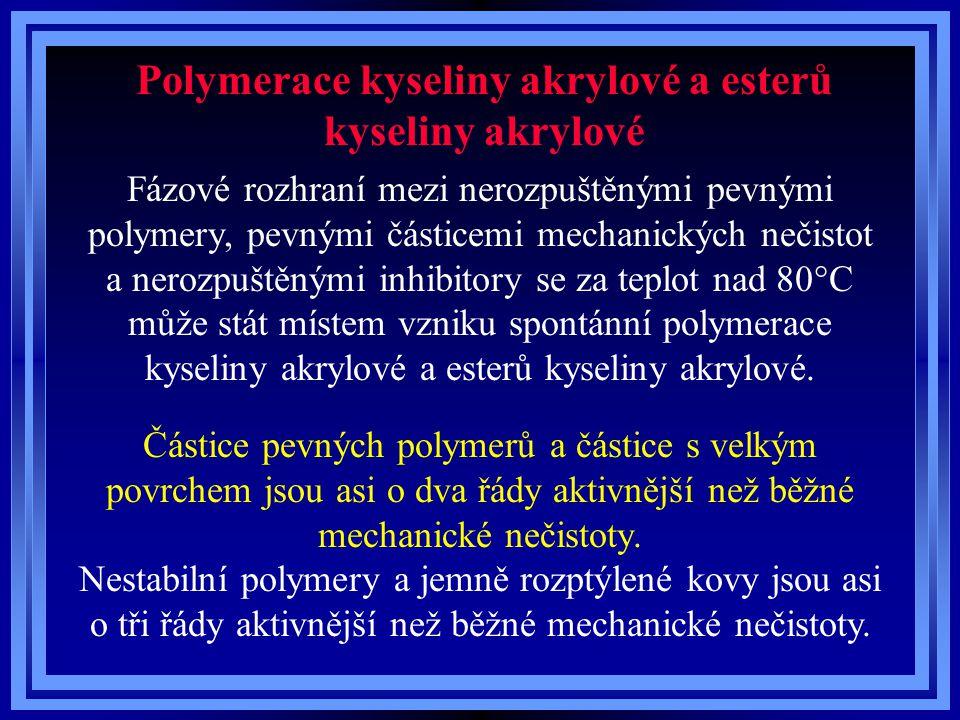 Polymerace kyseliny akrylové a esterů kyseliny akrylové Fázové rozhraní mezi nerozpuštěnými pevnými polymery, pevnými částicemi mechanických nečistot a nerozpuštěnými inhibitory se za teplot nad 80°C může stát místem vzniku spontánní polymerace kyseliny akrylové a esterů kyseliny akrylové.