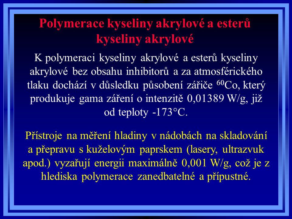 Polymerace kyseliny akrylové a esterů kyseliny akrylové K polymeraci kyseliny akrylové a esterů kyseliny akrylové bez obsahu inhibitorů a za atmosférického tlaku dochází v důsledku působení zářiče 60 Co, který produkuje gama záření o intenzitě 0,01389 W/g, již od teploty -173°C.