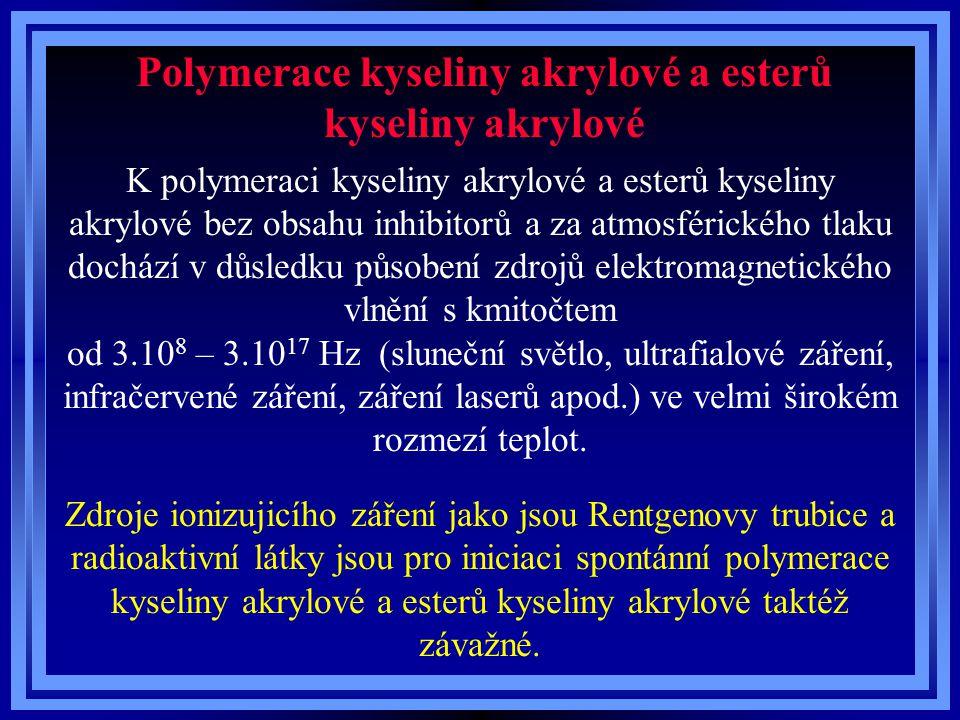 Polymerace kyseliny akrylové a esterů kyseliny akrylové K polymeraci kyseliny akrylové a esterů kyseliny akrylové bez obsahu inhibitorů a za atmosférického tlaku dochází v důsledku působení zdrojů elektromagnetického vlnění s kmitočtem od 3.10 8 – 3.10 17 Hz (sluneční světlo, ultrafialové záření, infračervené záření, záření laserů apod.) ve velmi širokém rozmezí teplot.