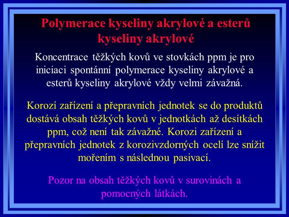 Polymerace kyseliny akrylové a esterů kyseliny akrylové Koncentrace těžkých kovů ve stovkách ppm je pro iniciaci spontánní polymerace kyseliny akrylové a esterů kyseliny akrylové vždy velmi závažná.