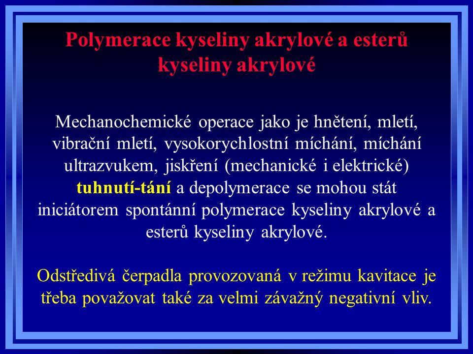 Polymerace kyseliny akrylové a esterů kyseliny akrylové Mechanochemické operace jako je hnětení, mletí, vibrační mletí, vysokorychlostní míchání, mích