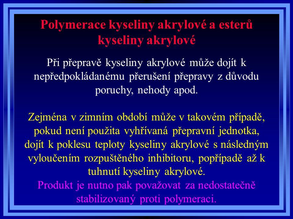 Polymerace kyseliny akrylové a esterů kyseliny akrylové Při přepravě kyseliny akrylové může dojít k nepředpokládanému přerušení přepravy z důvodu poru