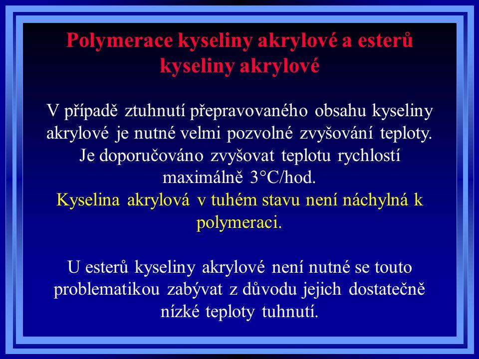 Polymerace kyseliny akrylové a esterů kyseliny akrylové V případě ztuhnutí přepravovaného obsahu kyseliny akrylové je nutné velmi pozvolné zvyšování t