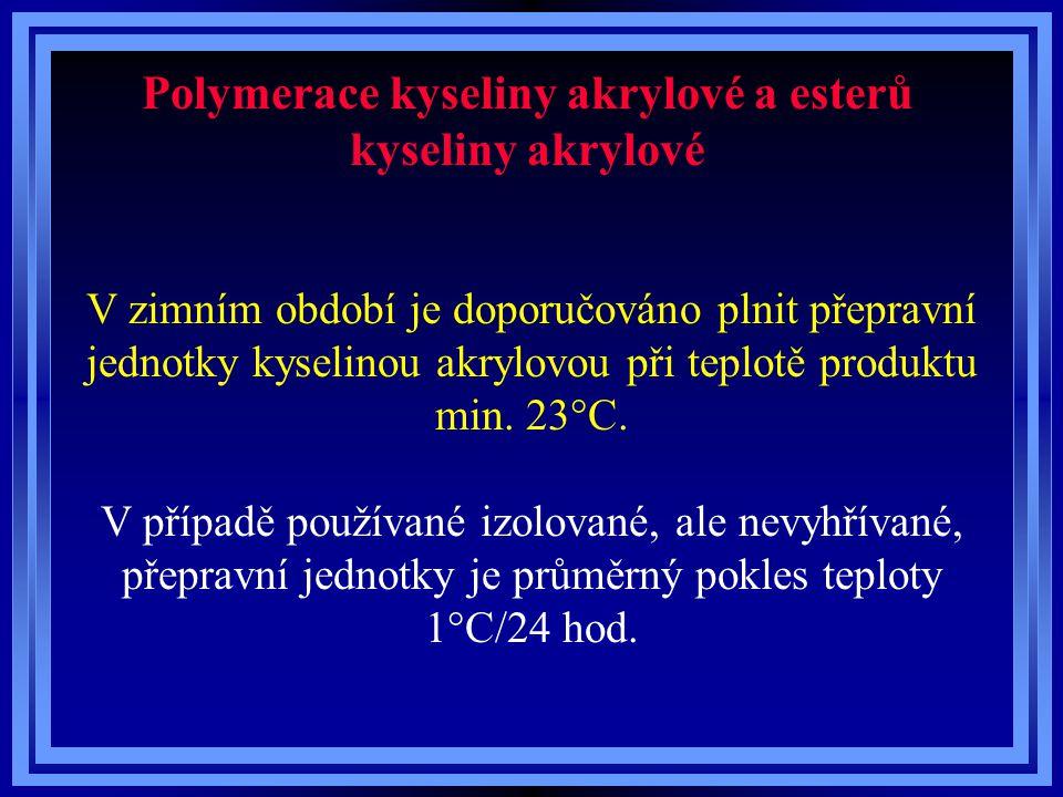 Polymerace kyseliny akrylové a esterů kyseliny akrylové V zimním období je doporučováno plnit přepravní jednotky kyselinou akrylovou při teplotě produktu min.