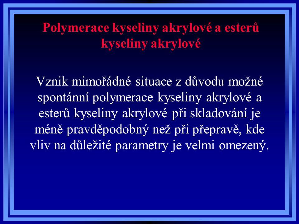 Polymerace kyseliny akrylové a esterů kyseliny akrylové Vznik mimořádné situace z důvodu možné spontánní polymerace kyseliny akrylové a esterů kyselin
