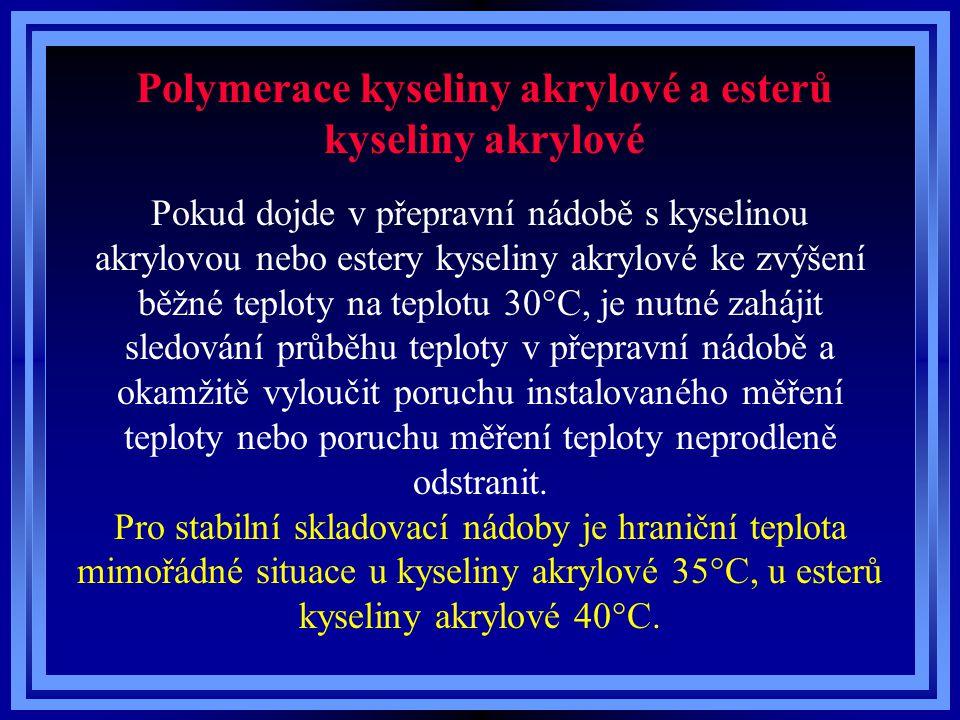 Polymerace kyseliny akrylové a esterů kyseliny akrylové Pokud dojde v přepravní nádobě s kyselinou akrylovou nebo estery kyseliny akrylové ke zvýšení
