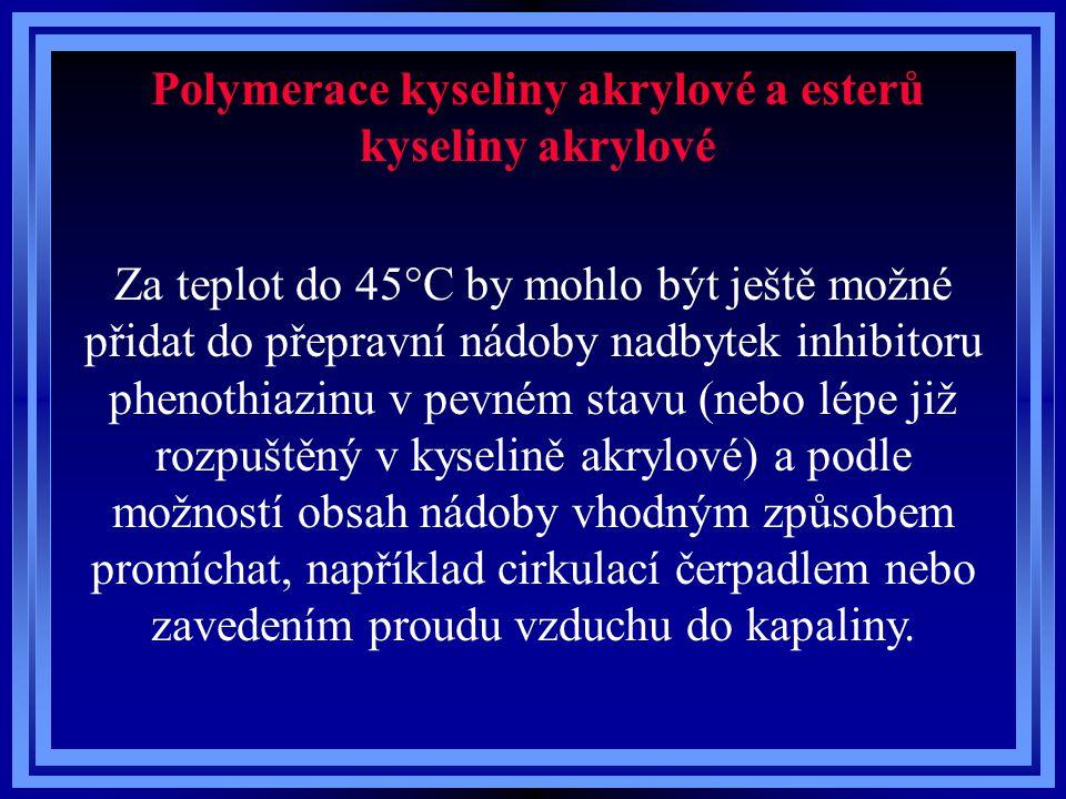 Polymerace kyseliny akrylové a esterů kyseliny akrylové Za teplot do 45°C by mohlo být ještě možné přidat do přepravní nádoby nadbytek inhibitoru phen