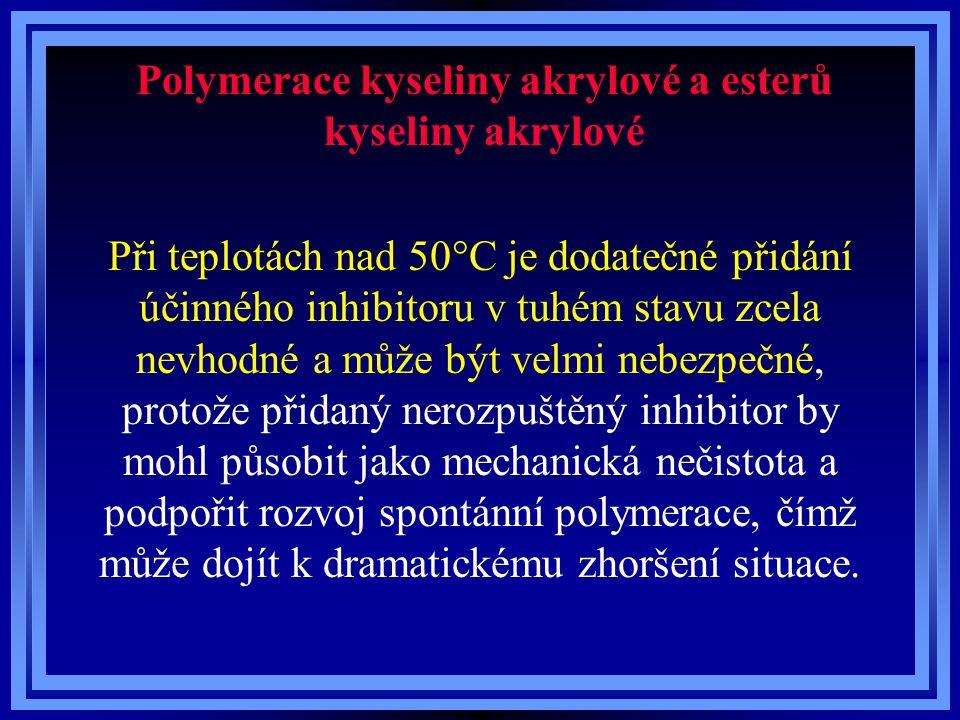 Polymerace kyseliny akrylové a esterů kyseliny akrylové Při teplotách nad 50°C je dodatečné přidání účinného inhibitoru v tuhém stavu zcela nevhodné a
