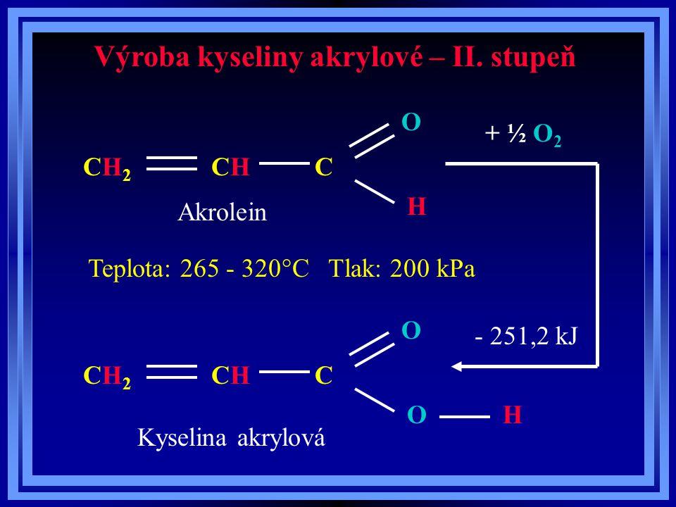 Výroba kyseliny akrylové – II. stupeň O H CH2CH2 CCHCH O H CH2CH2 CCHCH O + ½ O 2 - 251,2 kJ Akrolein Kyselina akrylová Teplota: 265 - 320°C Tlak: 200