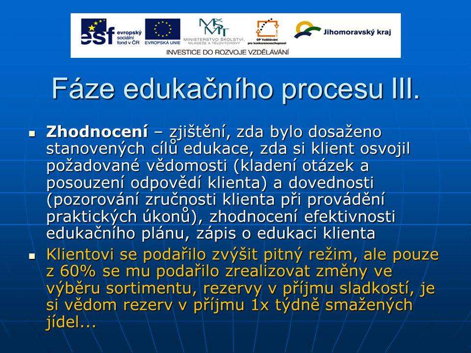Fáze edukačního procesu III. Zhodnocení – zjištění, zda bylo dosaženo stanovených cílů edukace, zda si klient osvojil požadované vědomosti (kladení ot