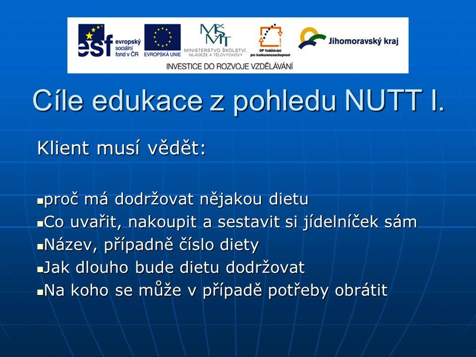 Cíle edukace z pohledu NUTT I. Klient musí vědět: proč má dodržovat nějakou dietu proč má dodržovat nějakou dietu Co uvařit, nakoupit a sestavit si jí