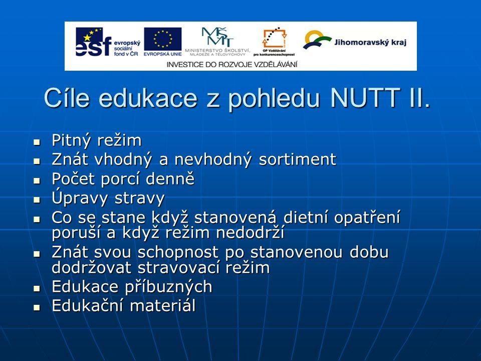 Cíle edukace z pohledu NUTT II. Pitný režim Pitný režim Znát vhodný a nevhodný sortiment Znát vhodný a nevhodný sortiment Počet porcí denně Počet porc
